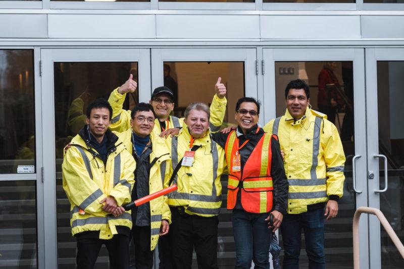 Volunteers helping in the parking lot
