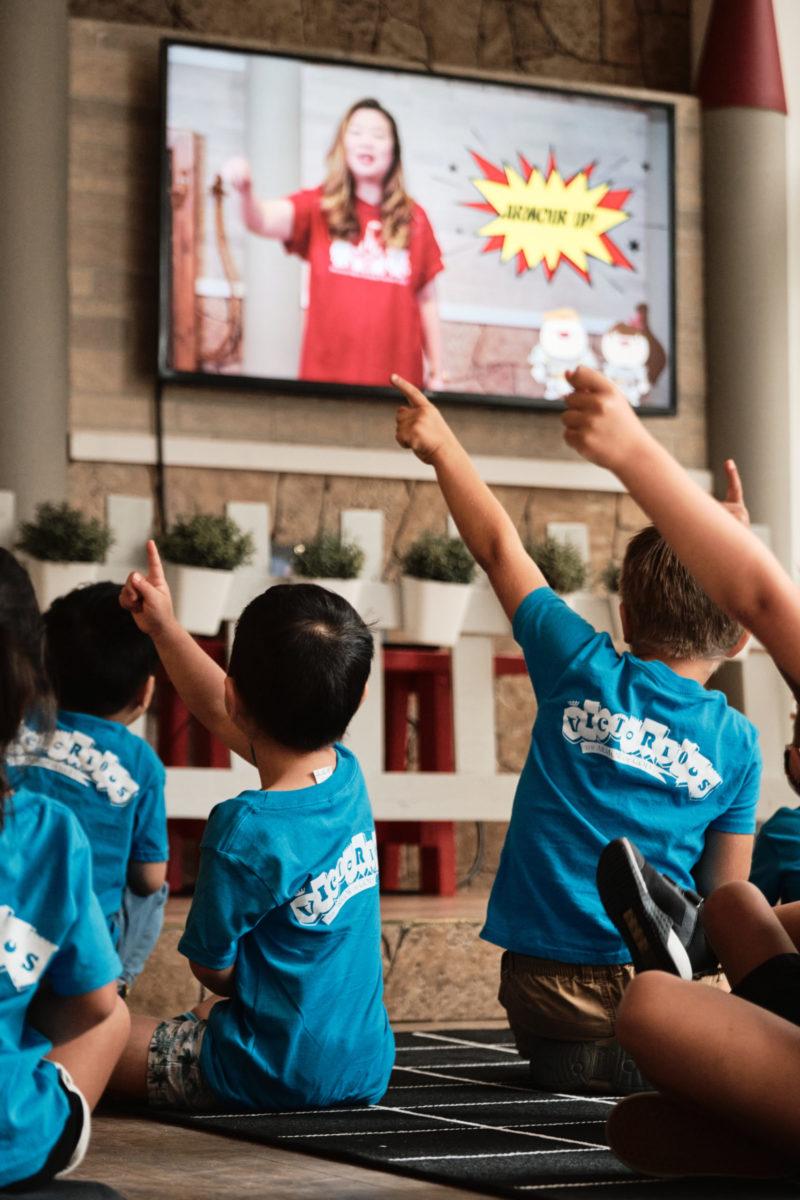 Kids watching a video